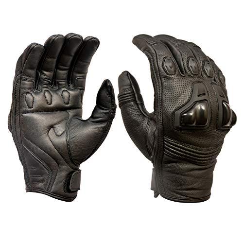 Royal Men Gear - Guanti da moto in pelle di alta qualità, per touch screen, con protezione nocche