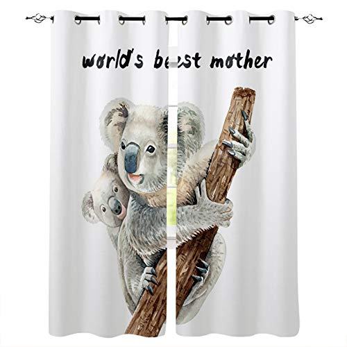 Blackout Curtains for Bedroom, Mother's Day,Koala Mother and Child, World's Best Mama Thermal Insulated Room Darkening Curtains, Window Curtain for Living Room, 90 Inches Length(Set of 2 Panel)