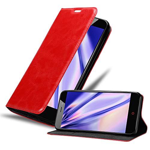 Cadorabo Hülle für ZTE Nubia N1 in Apfel ROT - Handyhülle mit Magnetverschluss, Standfunktion & Kartenfach - Hülle Cover Schutzhülle Etui Tasche Book Klapp Style