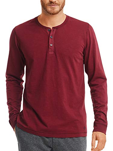 Marc O'Polo Body & Beach Herren Shirt LS Henley Schlafanzugoberteil, Rot (Burgund 516), Medium