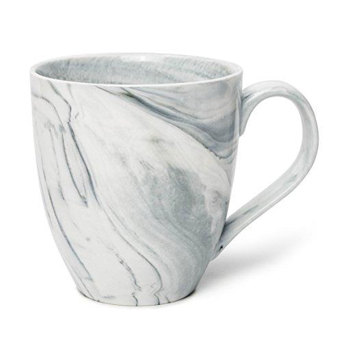 Hausmann & Söhne XXL Tasse weiß groß aus Porzellan in Grauer Marmorierung | Jumbotasse 500 ml (550 ml randvoll) | Kaffeetasse/Teetasse groß | Kaffeebecher Marmor | Geschenkidee