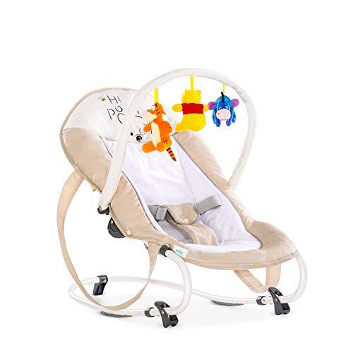 Hauck Bungee Deluxe Babywippe ab Geburt bis 9 kg mit Schaukelfunktion, Spielbogen, verstellbare Rückenlehne, Sicherheitsgurt, Tragegriffe, kippsicher, tragbar – Pooh beige