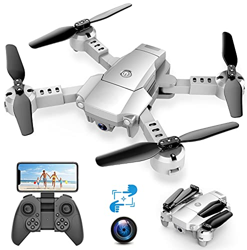 A10 Mini Drone con Cámara 720P HD Plegable FPV Control de Voz, Trayectoria de Vuelo, Vuelo Circular, Control de Gestos