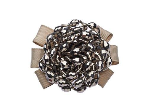 La Loria 2 Schuhclips - Grey Circle- Schleife in Grau, Accessoires für Schuhe, Schuhschmuck, abnehmbare Clips, Brosche