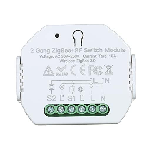 Zwbfu 2 Gang ZigBee y módulo de interruptor de RF Controlador de interruptor de hogar inteligente para el hogar Control remoto de aplicación móvil con función de temporizador Compatible con