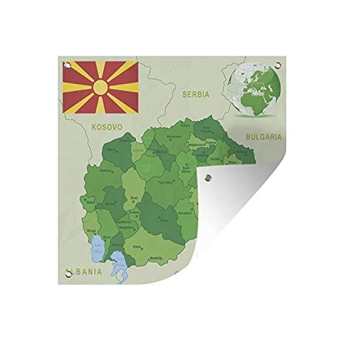 Gartenposter - Illustration von Nord-Mazedonien in Grün mit der Flagge - 50x50 cm