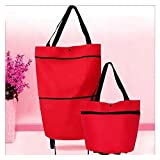 2 In 1 Foldable Shopping Cart With Wheels, Multifunction Telescopic Storage Bag, Collapsible Trolley Bags, Folding Shopping Bag (red)