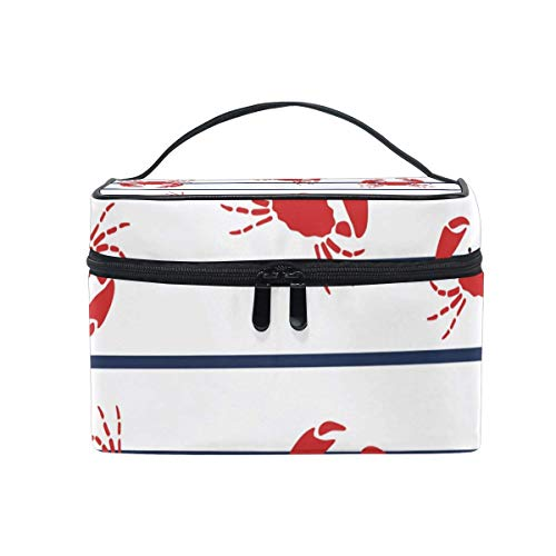 Vanity et Trousses à Maquillage Makeup Cosmetic Bag Red Crabs Pattern Marine Stripes Portable Travel Train Case Toiletry Bags Organizer Multifunction Storage Travel Daily Carry