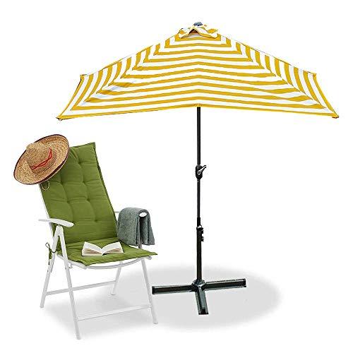 SCJ Paraguas de Rayas para Patio, 7 x 4 pies, Paraguas rectangulares con protección UV, 8 Varillas de Acero Resistentes, Paraguas de Mesa para Exteriores