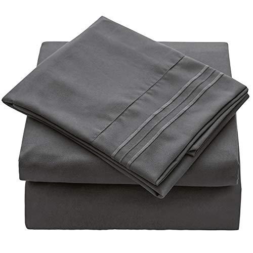 Veeyoo - Set biancheria da letto con tessuto antipiega, ipoallergenico, di qualità albergo, extra morbido con bordi profondi, composto da federe e lenzuola, Microfibra, Charcoal, UK King / Queen