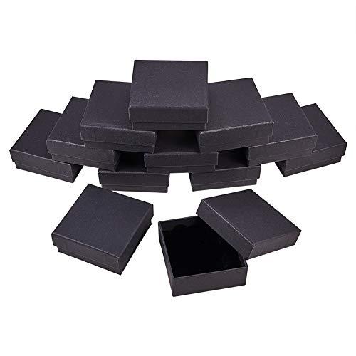 BENECREAT 12 STÜCKE Schwarz Matt Kraftpapier Schmuckschatulle, Samt gefüllt Platz Karton Schmuck Ring/Ohrring Box Geschenkboxen für Jubiläen, Hochzeiten 8.5x8.5x3.5 cm
