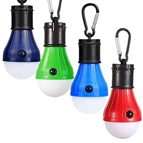 JTENG Camping LED Campinglampe mit Karabiner Camping Lantern Zeltlampe Glühbirne Set Camping Lampen wasserdicht Rucksack Licht für Abenteuer, Angeln