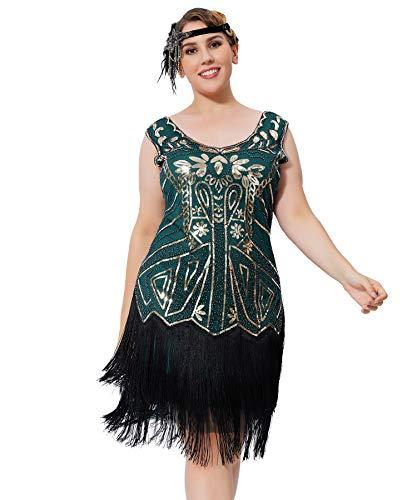 Geplaimir 20er Jahre Kleider Damen Flapper Dress Charleston Kleider V Ausschnitt The Great Gatsby Motto Party Fasching Karneval Kostüm Gold Dunkel Grün Große Größen 013C2XL
