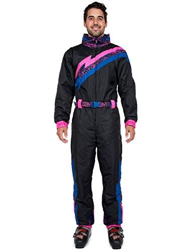 Tipsy Elves Men's Black Night Run 80's Style Ski Suit - Retro Inspired Snowsuit Onesie