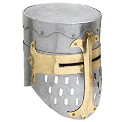 "Helmet is made from 18 gauge carbon steel Helmet is trimmed in brass Helmet is fully functional Size : 10""x10""x12"" Helmet is adult size fully wearable"