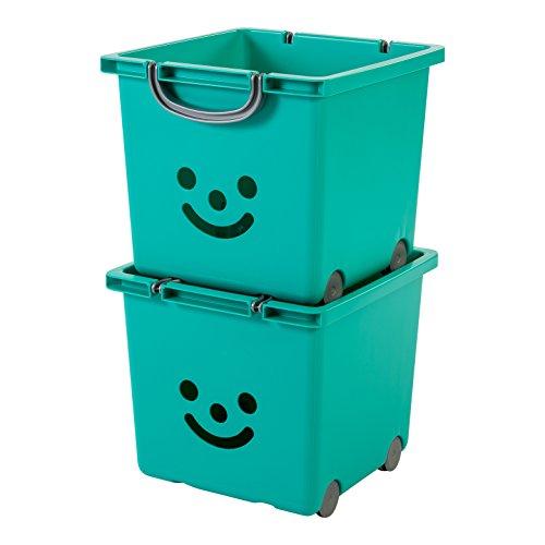 IRIS, 2er-Set Würfelboxen 'Smiley Kids Boxes', KCB-32, Kunststoff, mit Rollen, laguneblau, 33 x 32 x 29 cm