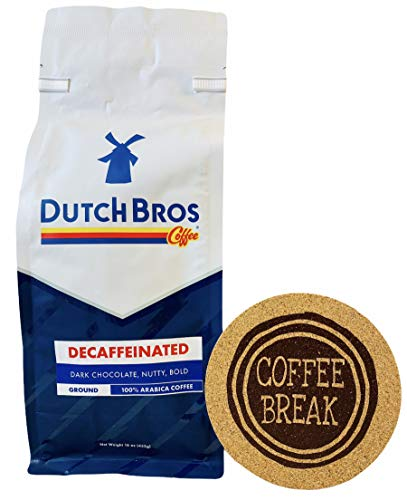 Dutch Bros Coffee Decaffeinated Ground Bag (16 oz) Signature Brazil Bean - Includes a Coffee Break Sataura Branded Cork Coaster Bundle