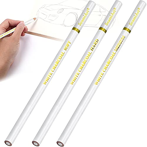 3 Piezas Lapiz Blanco para Dibujo, Lápiz Pastel Blanco, Lápiz de Carbón Blanco para Dibujo Profesional o Artista Principiante - Resaltar Bosquejo