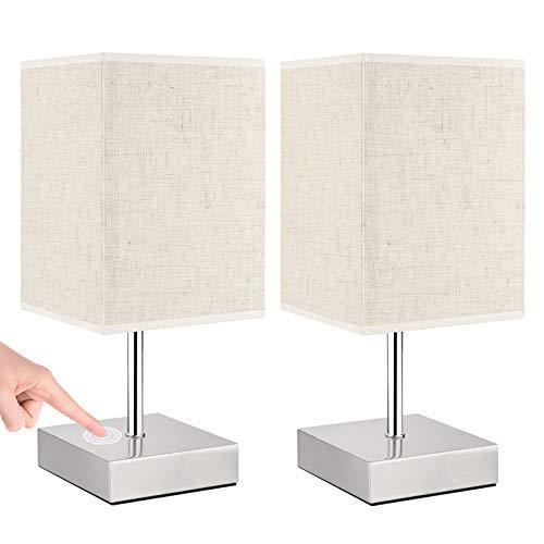 Lámpara Mesilla Noche Táctil, Lovebay Lámpara de Mesa Táctil Regulable Lámpara de Noche Cuadrado Beige Luz Nocturna Moderno inteligente para Escritorio, Sala, Dormitorio, Oficina, Habitación