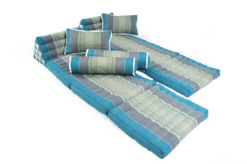 Thaikissen SET: 2 x 170x50 + 2 x Kissen 45x28 + 2 x Nackenrolle, Kapokfüllung, Blautöne