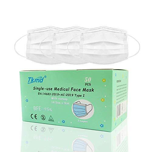 50 St. Small Medical Mask EN14683 Typ I 3-lagig 14,5 x 9cm Kleine Kopform Medizinische Einweg Schutzmasken BFE 95% Konformität nach EN 14683 Geprüft durch TÜV SÜD