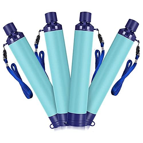 HDHUIXS Paja del filtro de agua, pajitas de supervivencia de la vida ultraligera 0.1 micrones Purificador de agua de 4 etapas, engranaje de supervivencia al aire libre para camping Senderismo