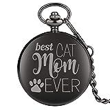 JLySHOP - Reloj de Bolsillo para niños de la Serie Best Cat Mom Ever, Reloj de Bolsillo clásico de...