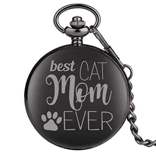 Reloj de Bolsillo para niños de la Serie Best Cat Mom Ever, clásico, Mediano, de Cuarzo, Unisex, Reloj de Bolsillo
