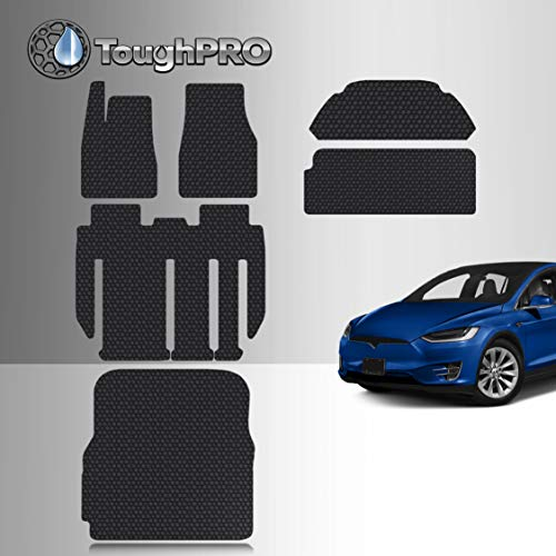 TOUGHPRO Floor Mat Accessories Compatible with Tesla Model X 7 Seater - All Weather - Heavy Duty - Black Rubber - Sept 2020, 2021 (Complete Set) Michigan