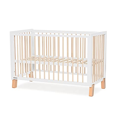 Kinderkraft 2-in-1 Baby Cot LUNKY, Wooden Bed, Ajustable Height, Side Rails, for 60x120 cm Mattress, White
