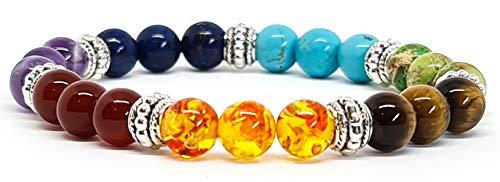 Bracelet pierres naturelles 7 Chakras Infinity 17cm, 8mm, authentique, marque française, fabrication artisanale KIREI PARIS BIJOUX idée cadeau ✔️ (7 Chakras Infinity 17cm) bracelet homme femme