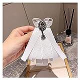 Jgzwlkj Broche Vintage Patchwork Cinta Broche Corbata de Lazo para Las Mujeres Cuello Coreano Flor Broche de Las señoras Necktie Uniform Dress Azafata (Metal Color : White)