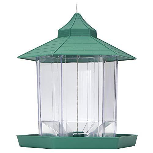 Aufee Bird Feeder, Plastic, Green, Transparent, Garden Bird Feeder, Outdoor for Balconies Birds Gardens