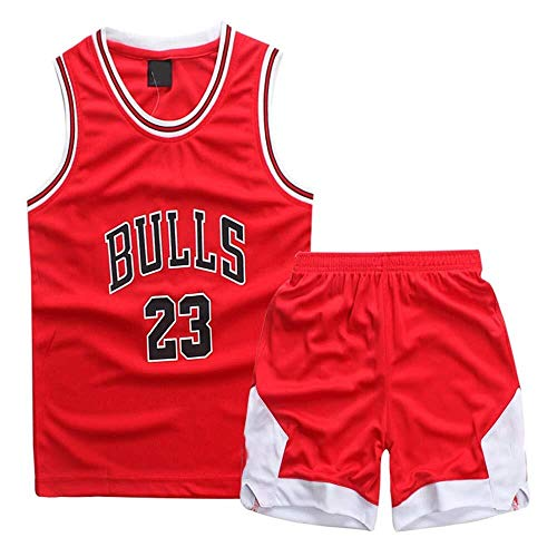 ASSD Niño Niña Jerseys del Baloncesto Set - NBA Michael Jordan Chicago Bulls # 23 Baloncesto Uniforme Camisa Chaleco del Verano Pone en Cortocircuito (Color : Red, Size : XXXS)