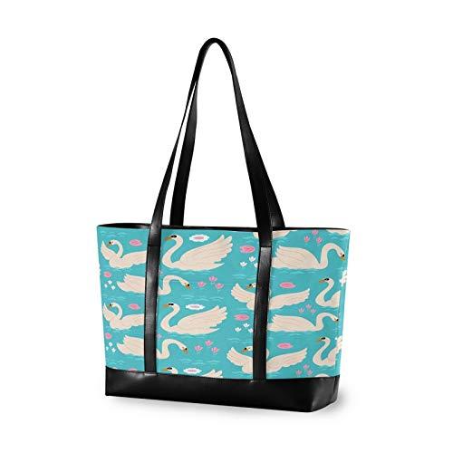 Elegant White Swan 14 15 15.4 15.6 inch Laptop Tote Bag for Women Large Lightweight and waterproof Computer Handbags Laptop Shoulder Messenger Bag