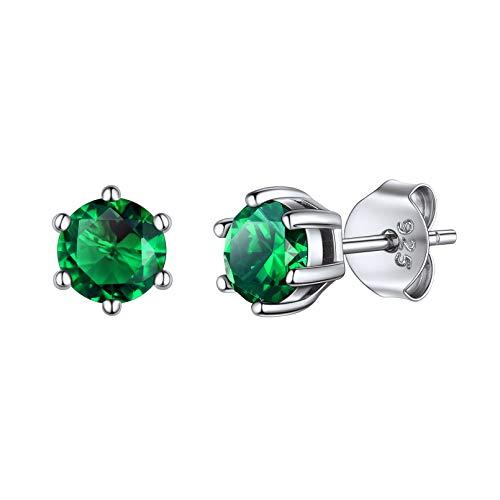 Pendientes Piedra Mayo Cristales de Nacimiento Pendientes para Muchachas Mujeres Plata de Ley 925 Joyería Preciosa Esmeralda Verde Oscuro Novias Parejas
