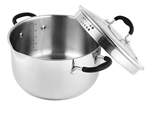 AVACRAFT Top Rated Stainless Steel Stockpot with Glass Strainer Lid, 6...