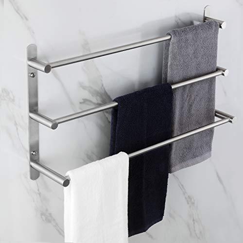 KOKOSIRI B5002BR - Toallero de baño de acero inoxidable con 3 niveles de escalera, soporte de pared para toallas, estantes, níquel cepillado