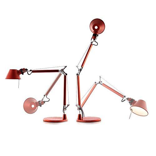TOLOMEO MICRO – Lámpara de escritorio roja de 37 cm – Lámpara de mesa Artemide diseñada por Michele de Lucchi & Giancarlo Fassina