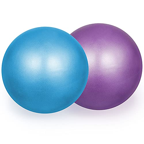 WISETOP 2 Pcs Pilates Ball 23cm Small Exercise Ball Stability Ball for Yoga Barre Core Training and Physical Therapy- Comes with Inflatable Straw (Purple and Pink)