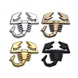 JinYe 3D Metal Scorpion Badge Emblem Decal Scorpion Chrome Car Sticker for Fiat Abarth Audi Renault Car Door Fender Trunk Rear Decor (Silver)
