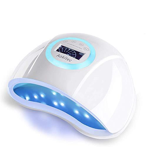 Gel UV LED Nail Lamp, Aokitec 90W UV Light for Nail Polishes 45 PCS Beads Professional Nail Dryer Curing Lamp with 4 Timer Auto Sensor for Fingernail and Toenail Salon Nail Art Supplies
