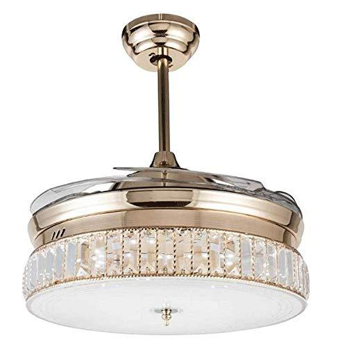 Luz de techo moderna de 42 pulgadas con ventiladores Hojas retráctiles de control remoto, para el restaurante del dormitorio de la sala de estar, Cinturón Europeo Fan de candelabros eléctricos, con mo