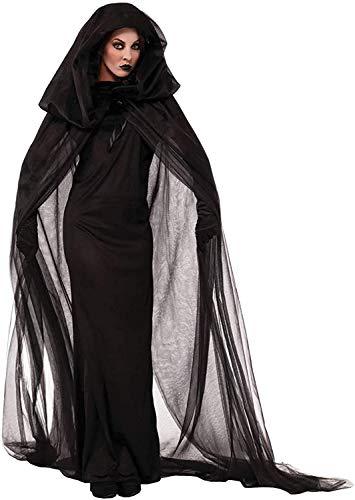 Chuangminghangqi. Vestido de vampiro para Halloween y mujer, disfraz de carnaval, para adulto, cosplay, con capucha, vestido largo Negro XXL