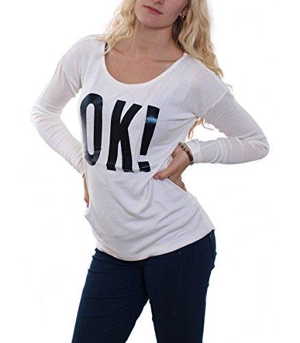 Madonna Langarm Shirt Strick Pullover Pulli Sweatshirt Oberteile OK, Farbe:Weiß;Größe:S