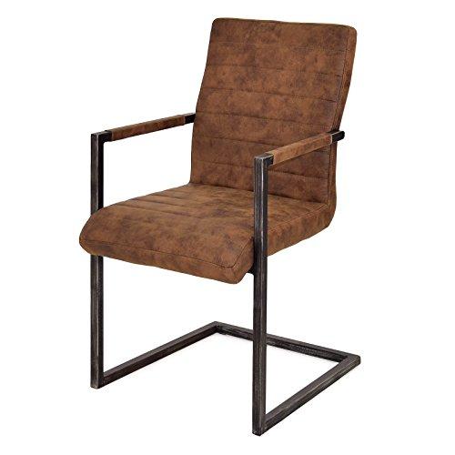 Preisvergleich Produktbild MÖBEL IDEAL Freischwinger Braun mit Armlehne Metall Schwarz B51 x T62 x H95 cm Küchenstuhl im Vintage Design
