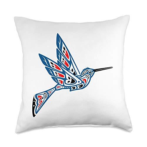 PNW Native American Indian Tribal NW Coast Art Hummingbird Native American Indian Pacific Northwest Art Throw Pillow, 18x18, Multicolor