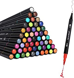 (60 Colors) - Colouring Drawing Journal Pens Dual Tip Brush Pens 60 Colours for Adult Colour Books Bullet Journaling Lette...