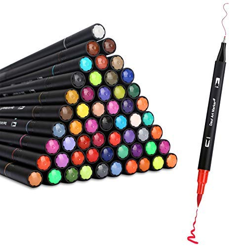 60 Colors Dual Markers Brush Pen,Ubefond Brush Tips Coloring Pens Fine Point Dual Tip Markers Set for Kids Adult Coloring Books Drawing Painting Lettering Calligraphy School Office Supplies