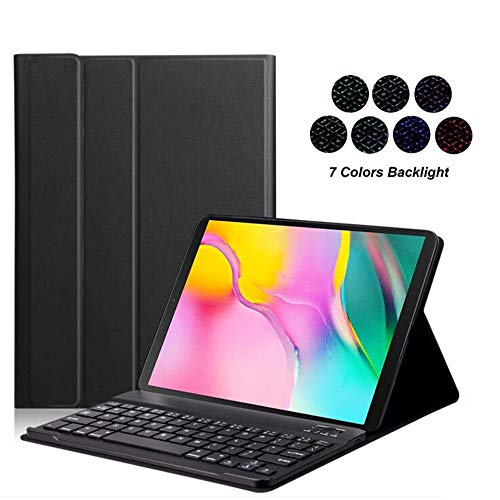 Samsung Galaxy Tab S5E 10.5 2019 Keyboard Leather Case, 7 Color Backlit Slim PU Case Wireless Bluetooth Stand Removable Keyboard Shell Cover for SM-T720 SM-T725 T720 T725 (Black)